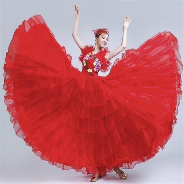 Holding Up Her Full-skirted Dress In The Opening Dance Costumes National Dance Collection Of Modern Dress Chorus Suits