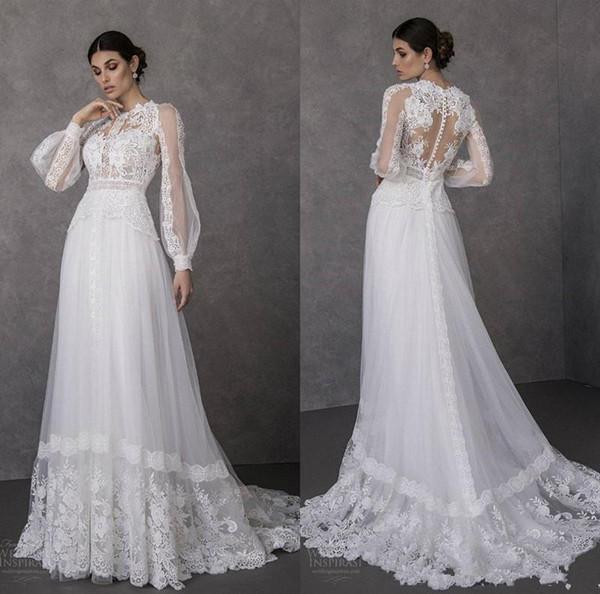Discount 2020 Lace Bohemian Wedding Dresses Jewel Neck Appliqued A Line Long Sleeve Bridal Gowns Sweep Train Cheap Beach Wedding Dress Wedding Dresses