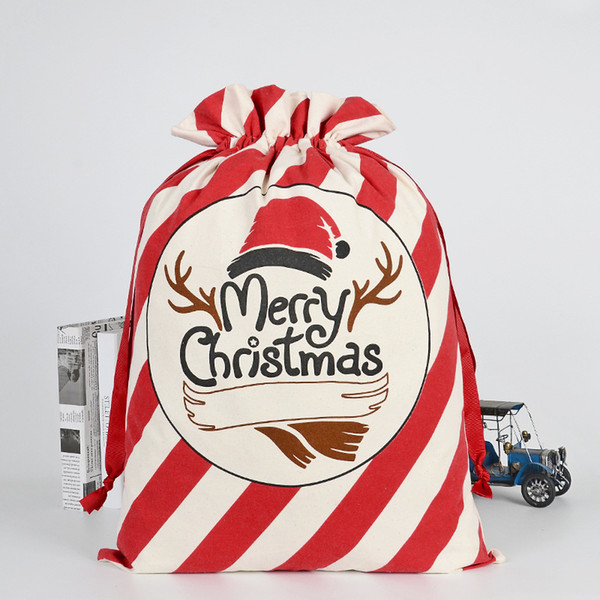 best selling 36 styles Christmas Gift Bags Santa Claus Environmental protection beam Canvas Bag 50*70cm Xmas custom elk candy Gift Handbags M132