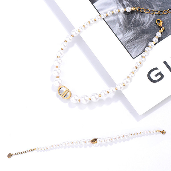 top popular luxury designer jewelry women necklaces pearl beaded necklaces for girl high-end elegant choker necklace and bracelets suit fine jewelry 2021