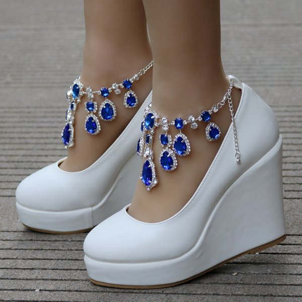 Crystal Queen Ankle Strap High WedgePlatform Pumps Large Size Bridal Shoes Women Crystal Shoes Mary Jane 11cm