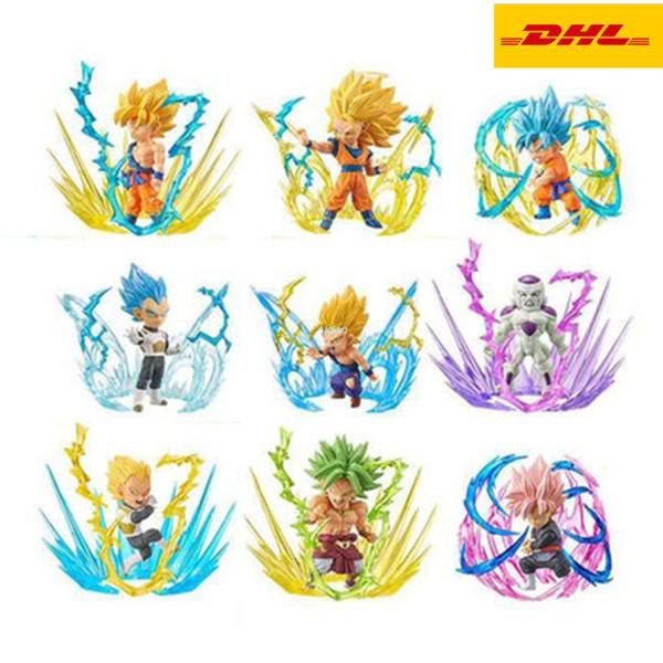9 Pçs / set Dragon Ball Filho Goku Vegeta Frieza Broli Espadas De Cabelo Vermelho Wukong Presente de Aniversário PVC Ação Collectible Toy Modelo 10 CM OPP G27