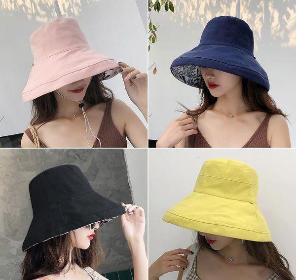 9328a6b8ed1140 2019 anti-UV wide Brim cotton linen sun hat vacation summer bucket hat  large brim