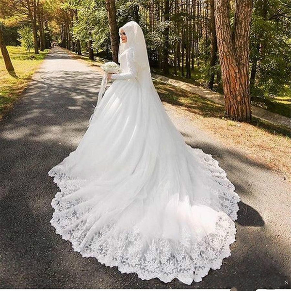 Vestido De Noiva Arabic Muslim Wedding Dresses Luxury Long Sleeve Wedding Dress With Hijab Veil 2019 Lace Bride Bridal Gown Custom Made