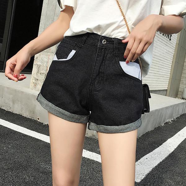 High Street Hit Colore Jeans donna Pantaloncini Vita alta Tasche Summer Hot Shorts Crimpatura Denim Femmina 2019 taglia S-5XL