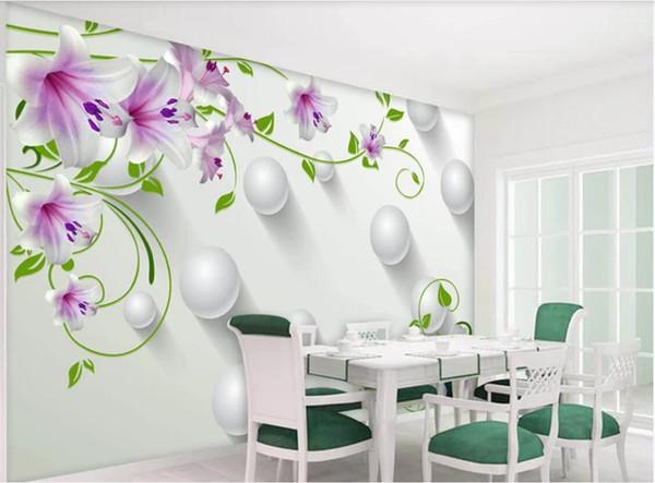 Carta da parati della stanza 3d carta da parati non tessuto personalizzata foto Giglio viola Green Green Vine Ball 3D TV sfondo muro wallpaper per pareti 3 d