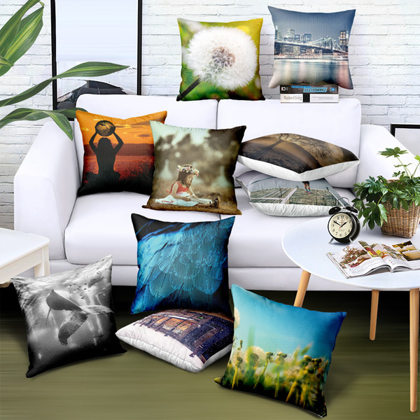 Custom Casse Pillow Plush Landscape Printed 29 Styles Decorative Pillows Brand Advertising Gifts Sofa Car Chair Seat Cushion Covers