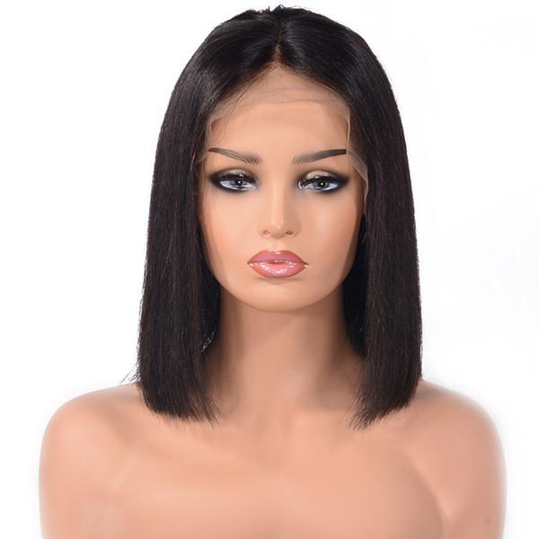 Short Human Hair Wigs Brazilian Remy Straight Glueless Full Lace Wigs Cut Bob Wigs For Black Women Baby Hair