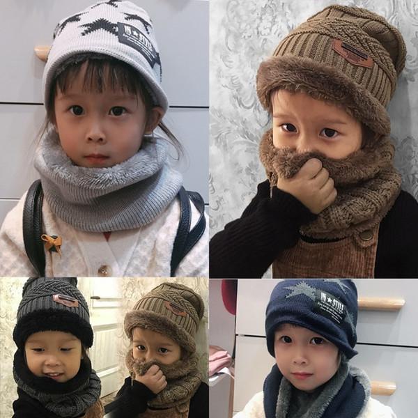 çocuk örgü şapka atkı takım gençlerin kış sevimli yumuşak şapka eşarp sıcak artı kadife kalınlaşma başlı gündelik kıyafetler oğlan kız