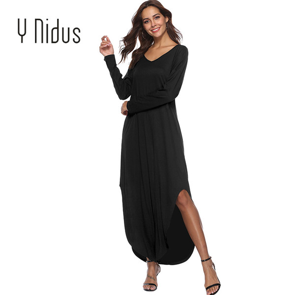 Y Nidus Women's Dress Sex Sundress Summer Beach Long Dress Women's Casual Pocket Short Sleeve Split Loose Maxi Dress vestidos