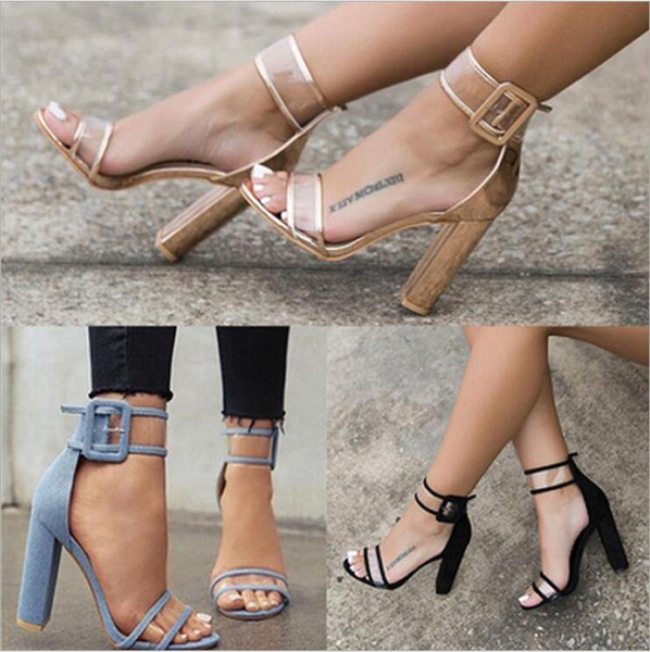 Women Lucite Clear Strappy Block Clear Chunky High Heel Open Peep Toe Sandal Ankle Strap Adjustable Buckle Shoes Plus Size 42