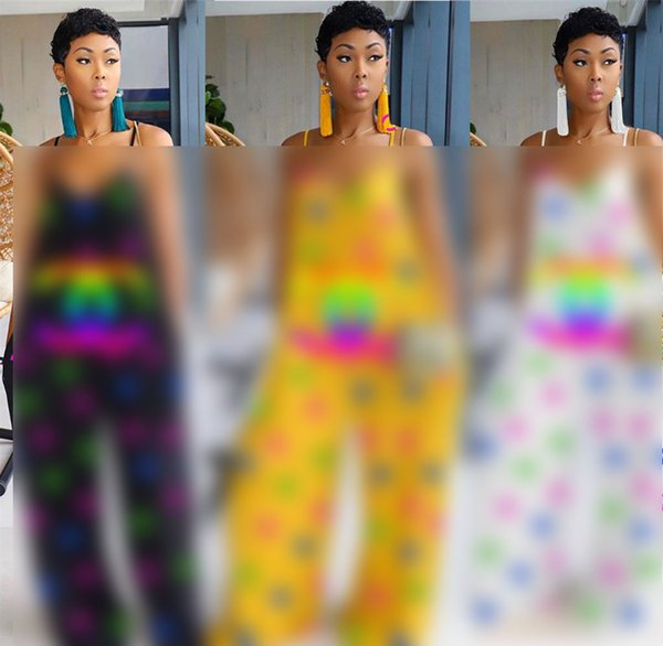 Designer Donne Pagliaccetti Tute senza maniche Pantaloni larghi monopezzo Pantaloni larghi Cinturino Pagliaccetto Clubwear Panno da festa Cena S-2XL C73005