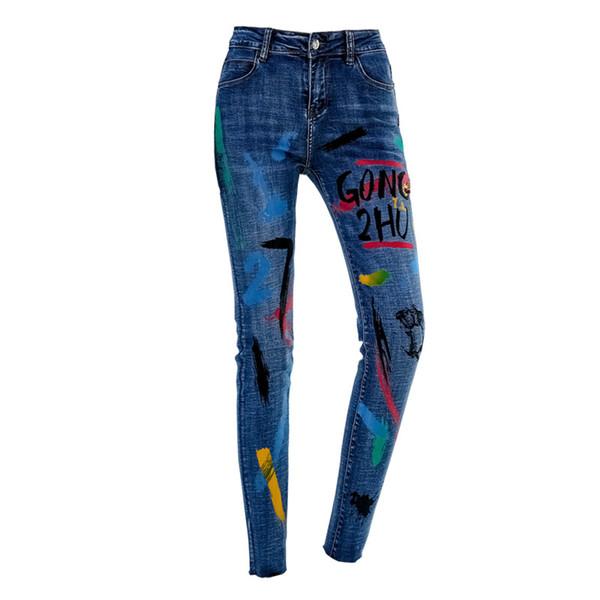 ORINERY 2019 Nuevo diseñador Impreso Jeans Mujer Pantalones vaqueros pitillo de cintura alta de alta calidad Pantalones casuales de mezclilla de talla grande