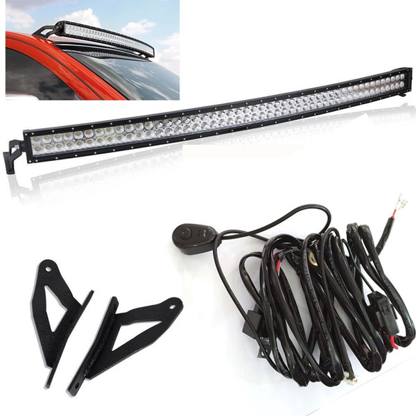 Off Road 288w Curved Led Light Bar With 50 Led Light Bar Upper Roof Mount Brackets For 2004 2015 Nissan Titan 4wd 2wd Led Bulb Led Bulb Design From