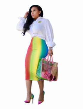 Mode mi-mollet rayé robes moulantes imprimées de vacances couleur douce Mode casual jupe nuit vêtements