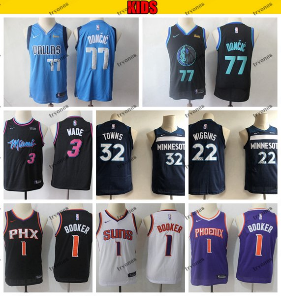 online store 608e1 d32b8 2019 Kids City Miami Dwyane Wade 3 Heat Dallas Luka Doncic 77 Mavericks  Devin Booker Suns Timberwolves Towns Andrew Wiggins Basketball Jerseys From  ...