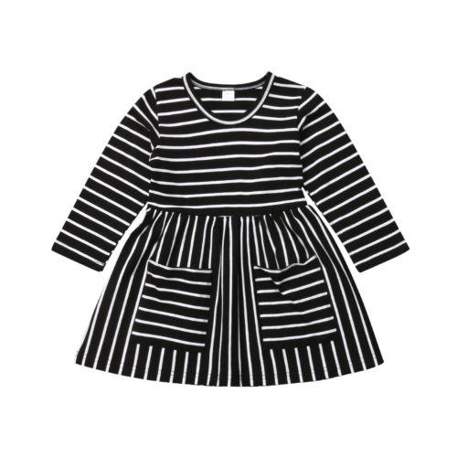 Newborn Infant Kids Baby Girl Clothing Striped Sleeve Mini Autumn Pocket Party Pageant Prom Dresses Clothes Girls