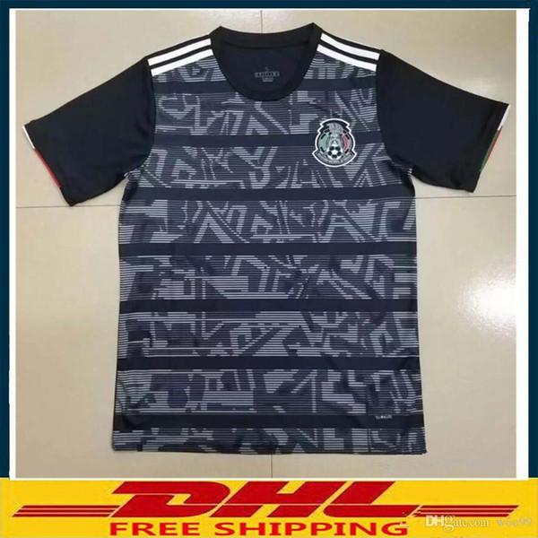S-XXXXL Dhl-freies Verschiffen 2019 Mexiko Fußball Jerseys 2019 2020 thailändische Qualität Mexiko wegschwarzes Fußball-Hemd Größe kann Mischreihe sein