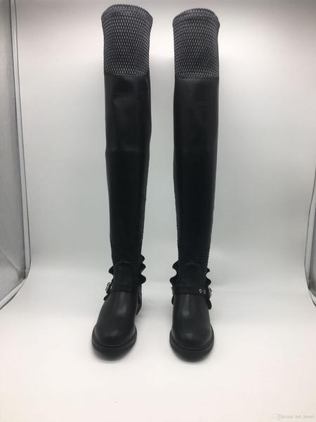 Runde flache lange Röhre elastische Stiefel schwarze Damen flache Ferse Schuhe sexy schwarze Leder Oberschenkel Stiefel hohe Stiefel Dame flache Stiefeletten