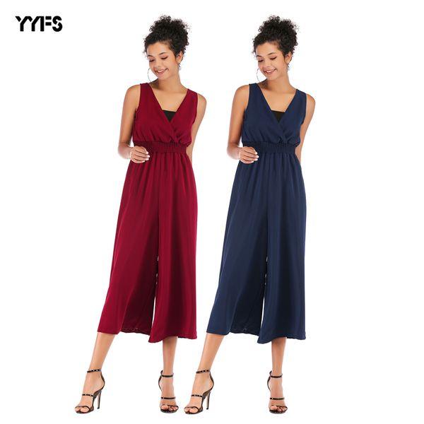 2019 European and American summer new V-neck waist casual nine pants Chiffon jumpsuit female wide-leg pants