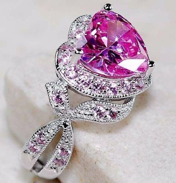 Fashion S925 Silver Heart Shape Pinky Crystal 3 Carat Simulate Diamond Women Bead Fit Fine Finger Jewelry Size 6,7,8,9,10