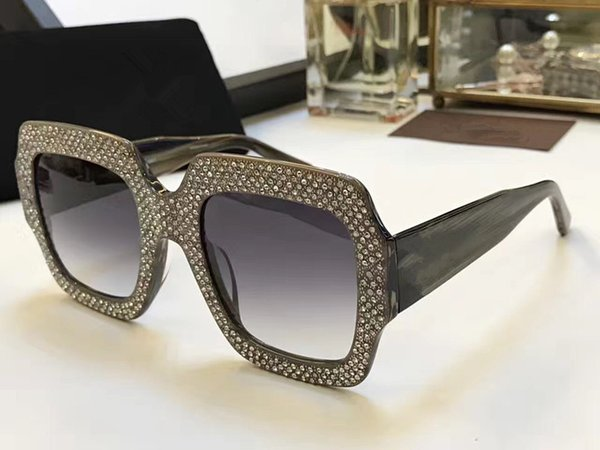 0048 Luxury Brand Sunglasses Large Frame Elegant Special Designer with Diamond Frame Built-In Circular Lens Top Quality Come With Case