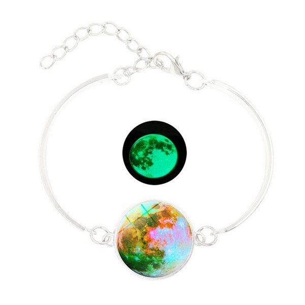 Women Glass Charming Jewelry Accessories Exquisite Cabochon Glow In Dark Chain Bracelet Planet Pattern Luminous Durable