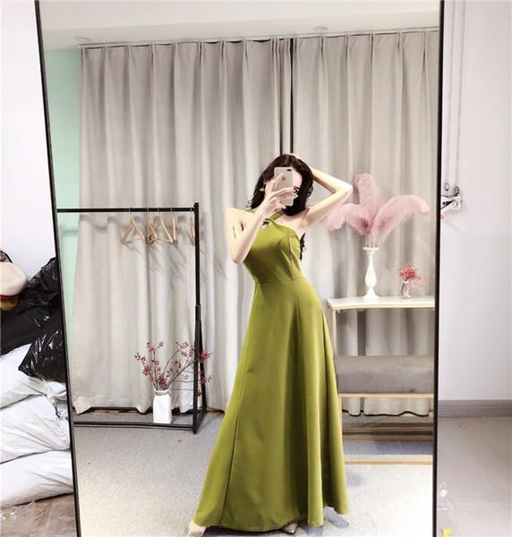 Fatoery Summer 2019 New Women Halter Sleeveless Evening Dresses Lady Banquet Host Backless Bow Dresses Long Skirt QC0207