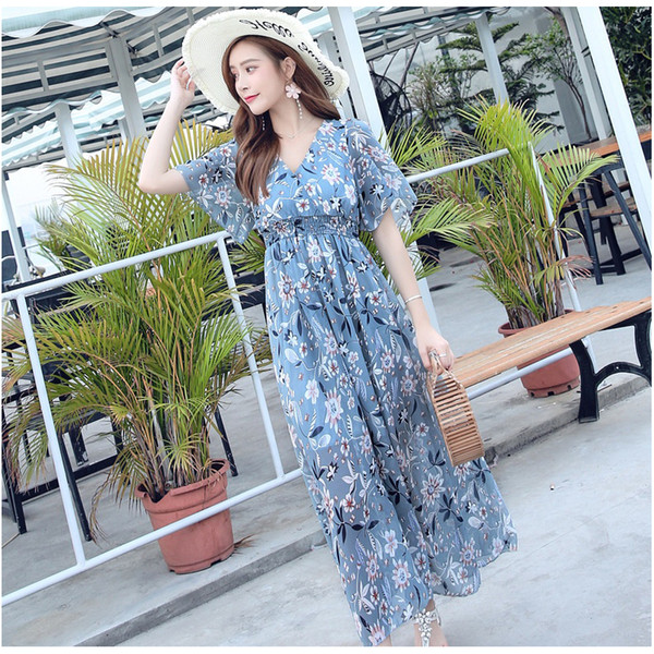 New V-neck High Waist Flexible Printed Chiffon in Summer of 2019 Dresses Beach Skirts For Seaside Vacations