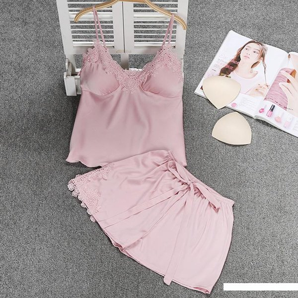 2019 Spring Imitated Silk Pajamas Suspender Shorts Two-Piece Set Sexy Lace Backless Thin Home Wear Women's
