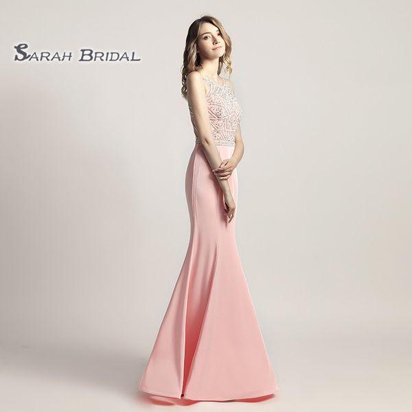 Mermaid Beaded Piink Red Prom Party Dresses 2019 Sexy Elegant Vestidos De Festa Evening Occasion Sleeveless Gown LX420