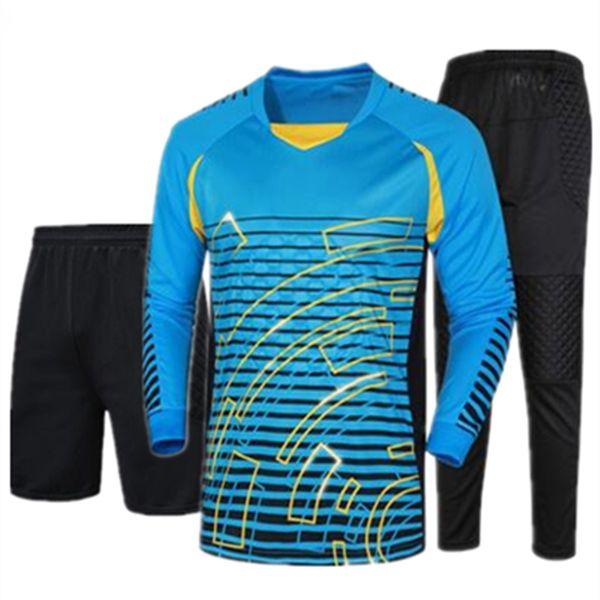Adult professional Goalkeeper Soccer Jerseys Kit Sponge protection Goalkeeper Football Uniform Long Goalie Shirt Training Pants & Shorts
