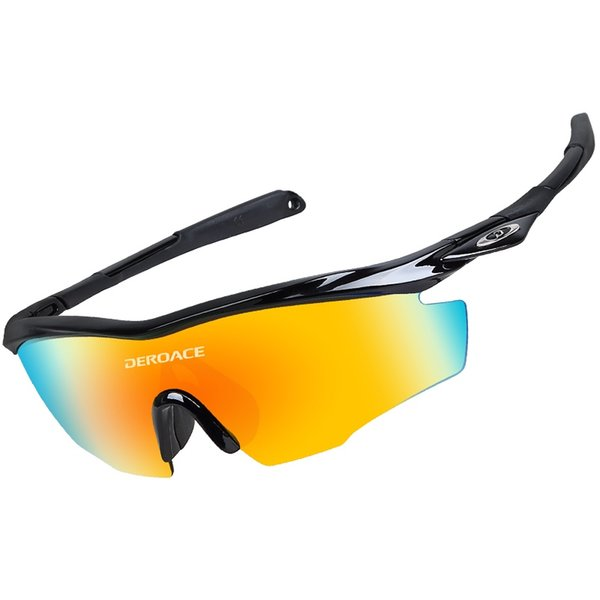DEROACE Polarized Bicycle Sunglasses Outdoor Sports Cycling Sunglasses TR90 Goggles bicycle Eyewear 5 Lens bike cycling glasses #186647