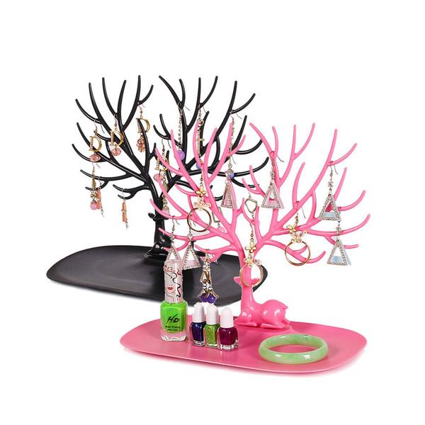 Little Deer Brincos Anel Pingente de Colar Pulseira de Jóias Display Stand Bandeja De Armazenamento De Árvore Racks Titular Organizador 25 * 15 * 22 cm