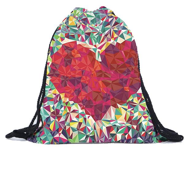 Unisex Emoji Sırt Çantaları 3D Baskı Çanta İpli Sırt Çantası peluche sacos özel logo tasmalar worek plecak sznurek Polyester # 4