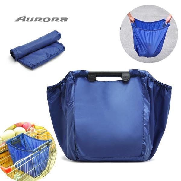 reusable eco friendly nylon supermarket large capacity portable folding handbag big shopping trolley cart foldable tote bag #182350