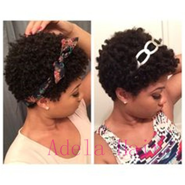 New Fashion Pixie cut Afro curly Wigs For Women Adjustable human hair Short Afro Kinky Curly Wigs Black Short Wigs