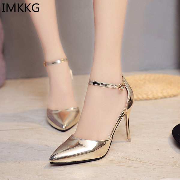 2019 Dress plus size 40 Women thin High heels Dress Shoes Woman Wedding Gold Silver Shoes Pointed Toe Ankle Buckle Sexy Pumps a001