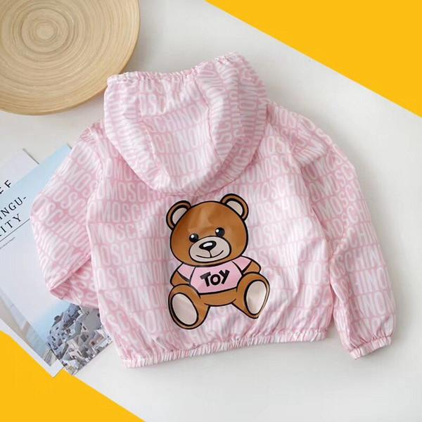 HOT 2019 summer girls jackets zipper Windbreaker kids Sunscreen clothing Fashion Little Bear casual hooded outerwear for girls