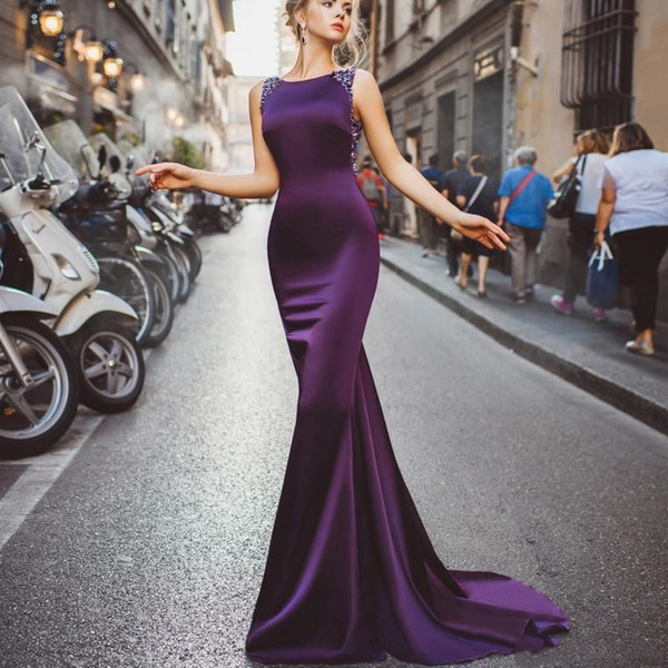 2020 Purple Mermaid Prom Ball Dresses Jewel Neck Sleeveless Formal Evening Gowns Crystal Bead Sequins Long Celebrity Red Carpet Dress