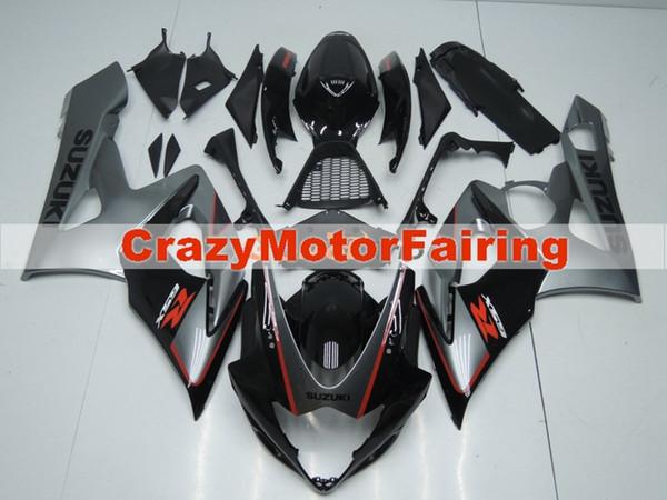 Nuevos moldes de inyección ABS motocicleta carenados kits aptos para Suzuki GSXR1000 K5 2005 2006 GSXR1000 05 06 conjunto de carrocería carenado personalizado negro gris