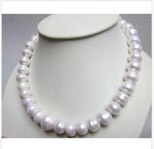 """NEW HUGE 15MM NATURAL SOUTH SEA WHITE BAROQUE PEARL NECKLACE 18"""" 14K GOLD CLASP"""