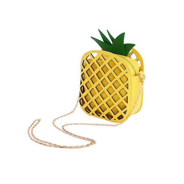 Brand Leather Cute Handbag for Women Lovely Pineapple Bag with Chain Hollow Out Mini Women's Fruit Handbags purse for girls