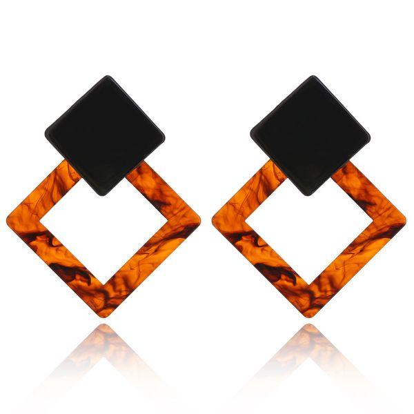 heap Drop Earrings KMVEXO Fashion Drop Earrings For Women Acrylic Big Coffee Grey Square Brinco Oorbellen Voor Vrouwen Bohemian Accessori...