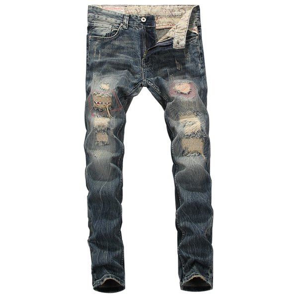 2019 New Designer Mens Jeans Destroyed Ripped Jeans For Men Casual Pants Slim Fit Brand Streetwear Stretch Biker Trousers