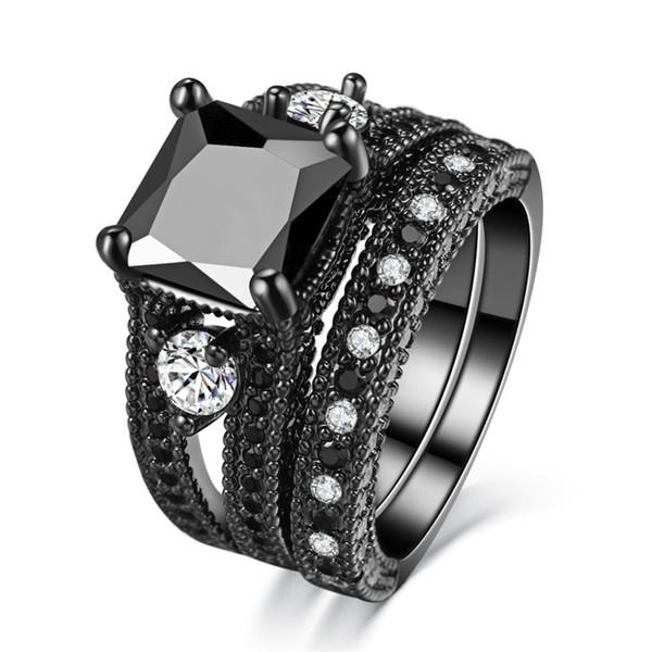 Anello con diamante nero naturale con taglio princess da donna Anello con zircone nero con diamanti in oro bianco da 4 kt incastonato 5-12