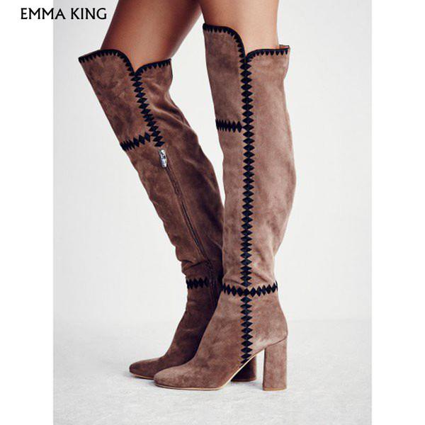 Açık Kahverengi Süet Uzun Çizmeler Tıknaz Topuk Çizmeler Çalışma Patik Kokteyl Parti Moda Ayakkabı Kadın Artı Boyutu Botas Mujer 35 # -43 #