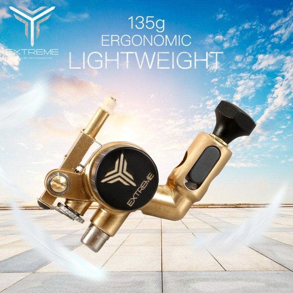 Dragonhawk Extreme X2 Tattoo Rotary Machine Brass Frame CNC Machine RCA Connected for Tattoo Artists