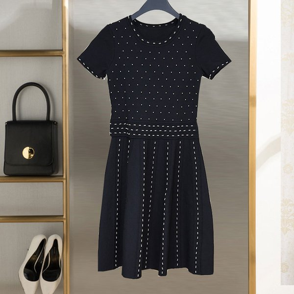 2018 new design womens Dress French elegance ladies dress beaded short-sleeved dresses big swing skirt womans clothes streetwear party wear