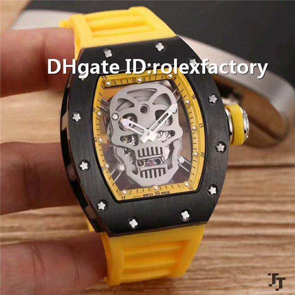 New Luxury 52-01 Watch Silver skull Skeleton Automatic 21600bph Sapphire Ceramic Case Yellow Rubber strap transparent case back Mens Watch